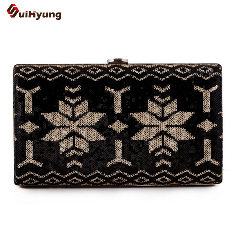 ФОТО New Women's Clutch Sequined Hit Color Leaver Pattern Evening Bag Wedding Party Small Handbag Gold Silver Frame Shoulder Bag