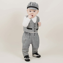 christening suits for boys gentleman baby boy birthday dress kids spring long sleeve shirt +vest +pants  bouquet sets 3pcs