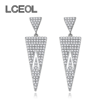 LCEOL  Brand Jewelry Earring Double Inverted Triangle CZ Diamonds Full Pave Setting Dangle Drop Earrings or Charm Lady Gifts