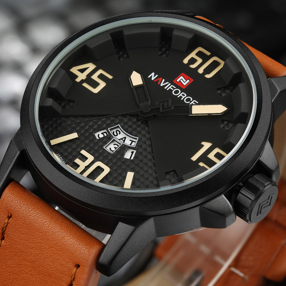 NAVIFORCE Top Luxury Brand Men Sports Watches Mens Quartz Date Clock Man Leather Army Military Wrist Watch Relogio MasculinoNAVIFORCE Top Luxury Brand Men Sports Watches Mens Quartz Date Clock Man Leather Army Military Wrist Watch Relogio Masculino