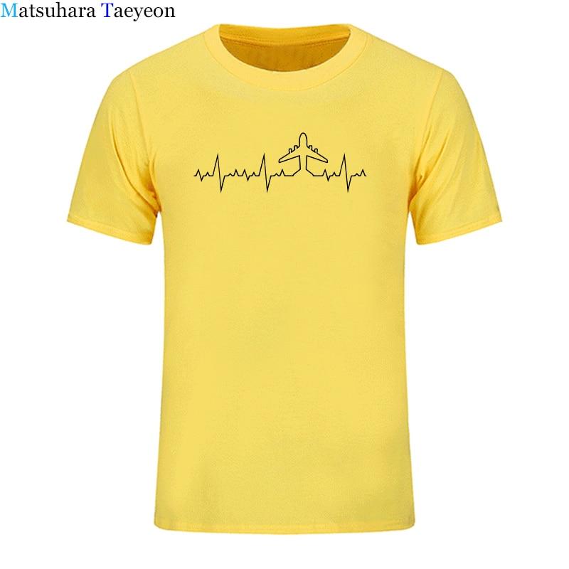 print t shirt Heartbeat Plane Pilot Funny Print T Shirt Men Short Sleeve Cotton Plane Driver T-shirts Mens Clothing Camisetas Clothing Men's Clothing