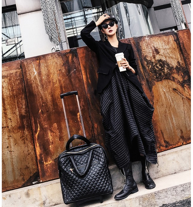 "TRAVEL TALE 18 ""นิ้ว spinner หนัง retro กระเป๋าถือกระเป๋าเดินทางกระเป๋าเดินทางสำหรับ girls-ใน กระเป๋าเดินทางแบบลาก จาก สัมภาระและกระเป๋า บน   1"