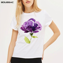 New Arrivals Women Clothes 2019 Summer Watercolor Flower Print White Loose Cotton Casual Short Sleeve Female T-shirts Plus Size