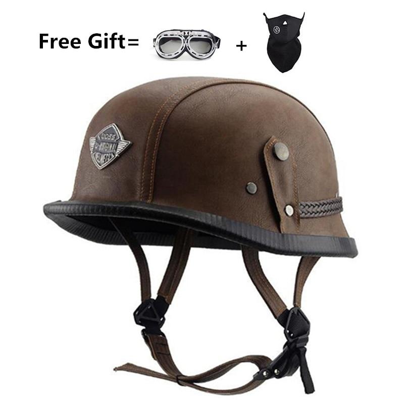 Livraison gratuite allemand WWII Style visage ouvert demi casque en cuir Harley Moto vintage Moto Moto Vespa camouflage
