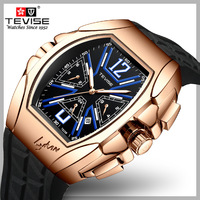 Brand Tags TEVISE Watches Men Silicone Strap Automatic Mechanical Men Watches Casual Wristwatch Small Seconds Relogio Masculino