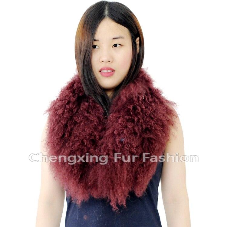 Настоящий монгольский овечий меховой воротник настоящий овечий мех шарф шарфы накидка шейный платок меховой шарф - Цвет: Бургундия