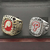 Wholesale High Quality One Set 2PCS MLB 1980 And 2008 PHILADELPHIA PHILLIES Championship Ring Sport Ring