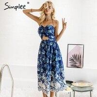 Simplee Vintage Print Beach Summer Dress Women Bow Backless Halter Long Dress Chiffon Flower Lace Up