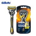Genuína bola marca barbear lâminas de barbear gillette fusion proshield flex máquina rosto cuidados lavável barbeadores 1 titular com 1 bladese