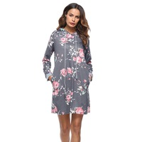 LASPERAL 2017 Autumn Hooded Long Sleeve Dresses Women Casual Floral Printing Dress Female Fashion Ukraine Vestidos