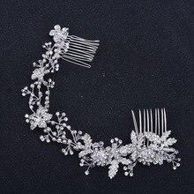 Fashion Silver Color Rhinestone Bridal Long Hair Comb Vine Flower Wedding Headband Accessories Pearl Hair Jewelry Handmade