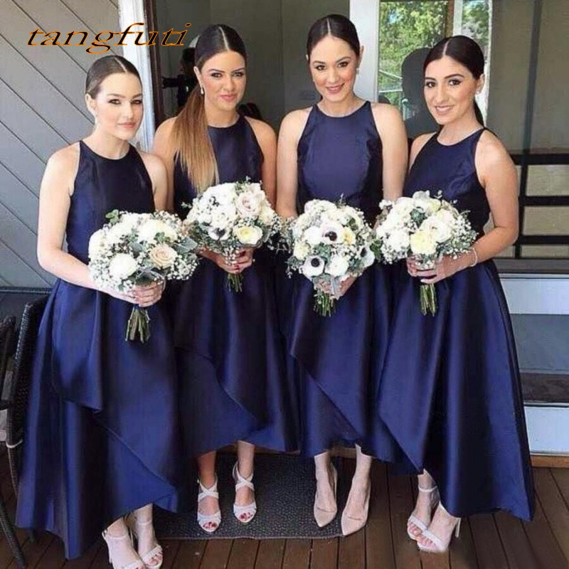 Navy Blue Satin A-Line Bridesmaid Dresses Ankle Length Off The Shoulder Women Party Wedding Party Gowns Robe De Soiree