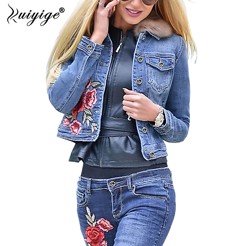Ruiyige 2018 Autumn Women Denim Basic Jacket Casual Floral Embroidery Button Pockets Streetwear Vintage Bomber Coat Outerwear