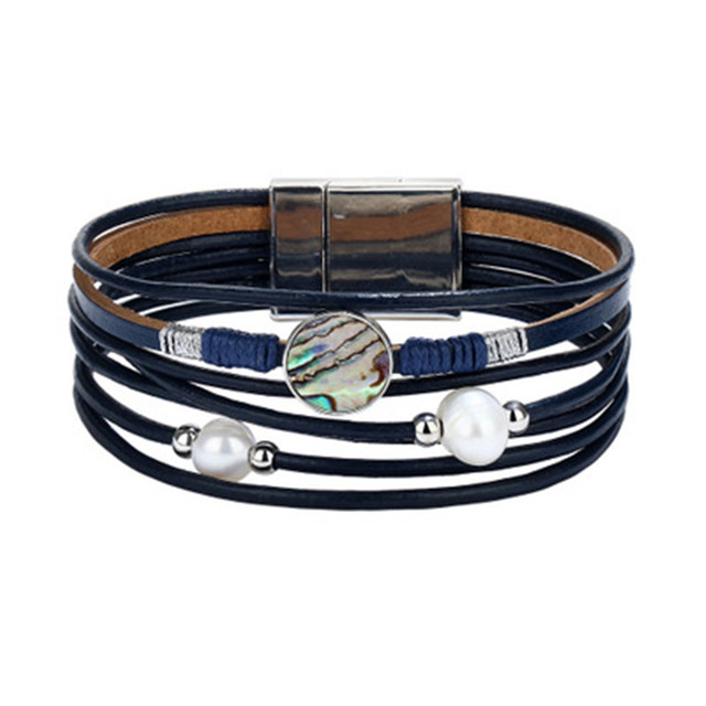 Kuniu New Bracelet Trend Multi Layer Magnetic Ons Leather Temperament Fashion Personality Jewelry