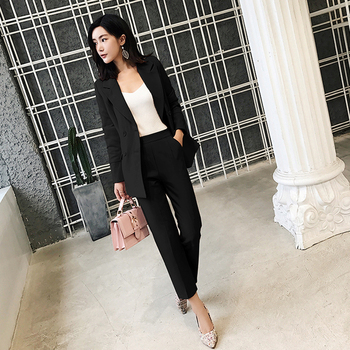 цена на MU ZI Casual 2 Pieces Set Women Pant Suits Notched Collar Blazer Jacket & Ankle-length Pants OL Female Suits 2020 Autumn 001