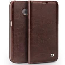 Для Samsung Galaxy S7 и S7 край Дело Qialino Натуральная Кожа Флип бумажник Ультра Тонкий Чехол для Samsung S7 и S7 крайний Случай