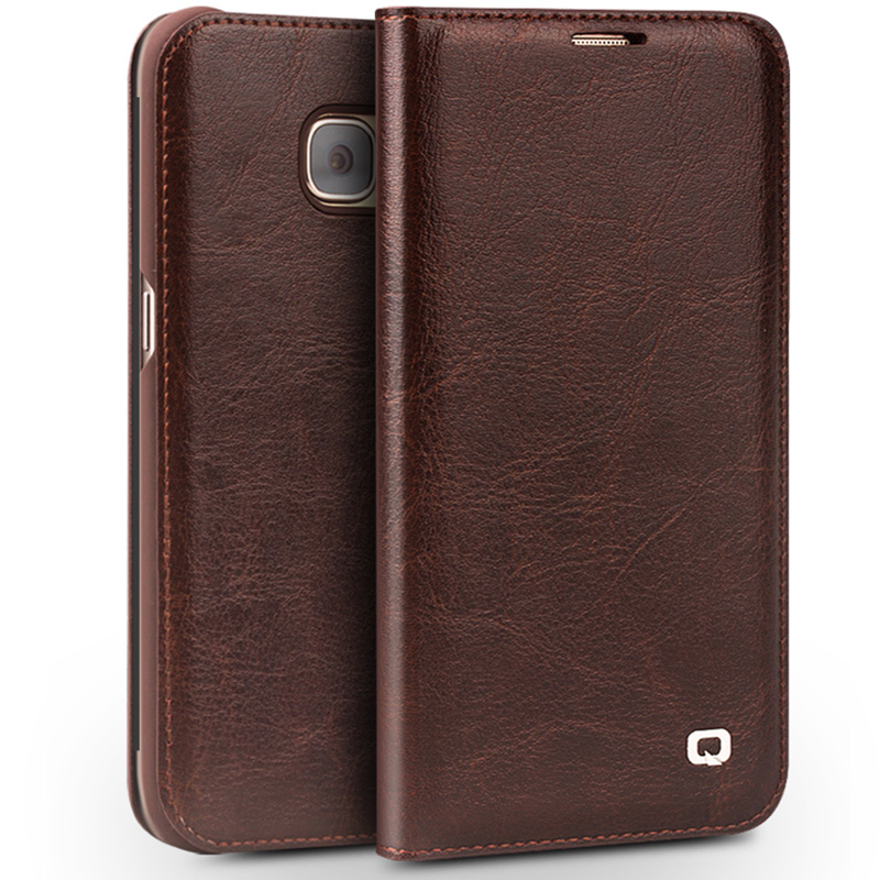 first rate 95112 0b8fe US $21.59 20% OFF|Qialino Case For Samsung Galaxy S7 & S7 edge Genuine  Leather Flip Wallet Ultra Thin Case Cover for Samsung S7 & S7 edge -in Flip  ...