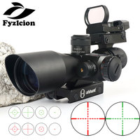 Hunting AR15 Rifle 2.5 10X40E scope Tactical Opticsl Combination Sights with Red Laser Sight and Red Dot Rifle Scope 20mm Rail