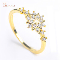 S925 Sterling Silver Snowflake Ring Cute Women Chic Dainty Rings Delicate Rings Engagement Wedding Jewelry Drop shipping S4