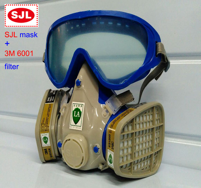 SJL respirator mask +3M 6001 filter protective mask against Painting spraying respirator gas maskSJL respirator mask +3M 6001 filter protective mask against Painting spraying respirator gas mask