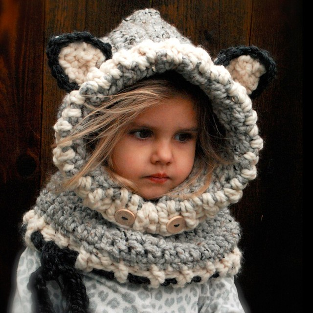 7c5f3047d3d Forme de renard tricoté cou plus chaud long bonnet bébé chapeau hiver chaud  enfants crochet cou