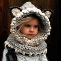 fox shape knitted neck warmer long beanie baby hat winter warm children crochet neck warp ski cowl cap,gorros bonnet enfant