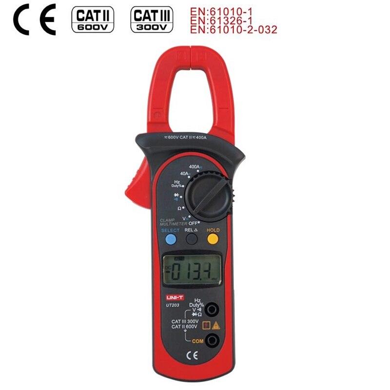 UNI T UT203 medidor pinza Digital Auto de la gama multímetro AC DC 600 V voltímetro amperímetro ohmímetro frecuencia diodo de retención de datos