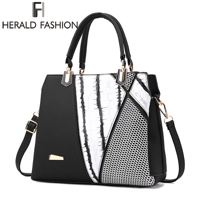 Herald Fasion Women Brand New Design Handbag Black And White Stripe Tote Bag Female Shoulder Bags High Quality PU Leather Purse fashionable women s tote bag with cover and pu leather design