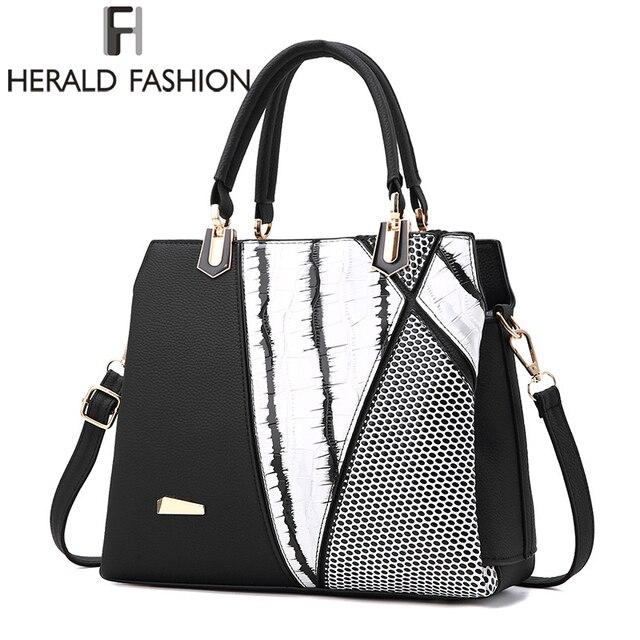 45a9f0ce7e1 Herald Fasion Women Brand New Design Handbag Black And White Stripe Tote  Bag Female Shoulder Bags High Quality PU Leather Purse