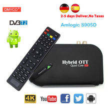 DVB-T2 Satellite Receiver&Android tv box 1080P HD Amlogic S905 Quad core Bluetooth 4.0 H.265 HEVC 4K Smart media player tv tuner