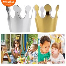 10pcs/lot Hot Gold Happy Birthday Party Hat Childrens Crown Photo Props Baby Shower Girls Boys Gifts and Favors Supplies