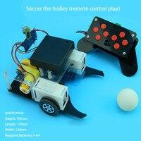 Voetbal winkelwagen afstandsbediening robot voetbal wetenschap model diy wetenschappelijke experimenten voor schoolkinderen