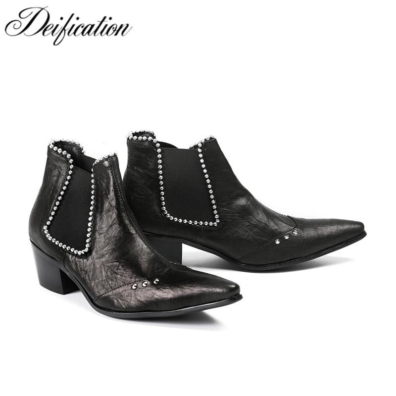 Deification Luxury Black Men Chelsea Boots 2018 Genuine Leather Med Heel Ankle Boots For Men Militares Footwear Zobairou Botas