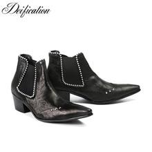Deification Luxury Black Men Chelsea Boots 2018 Genuine Leather Med Heel Ankle Boots For Men Militares Footwear Zobairou Botas недорого