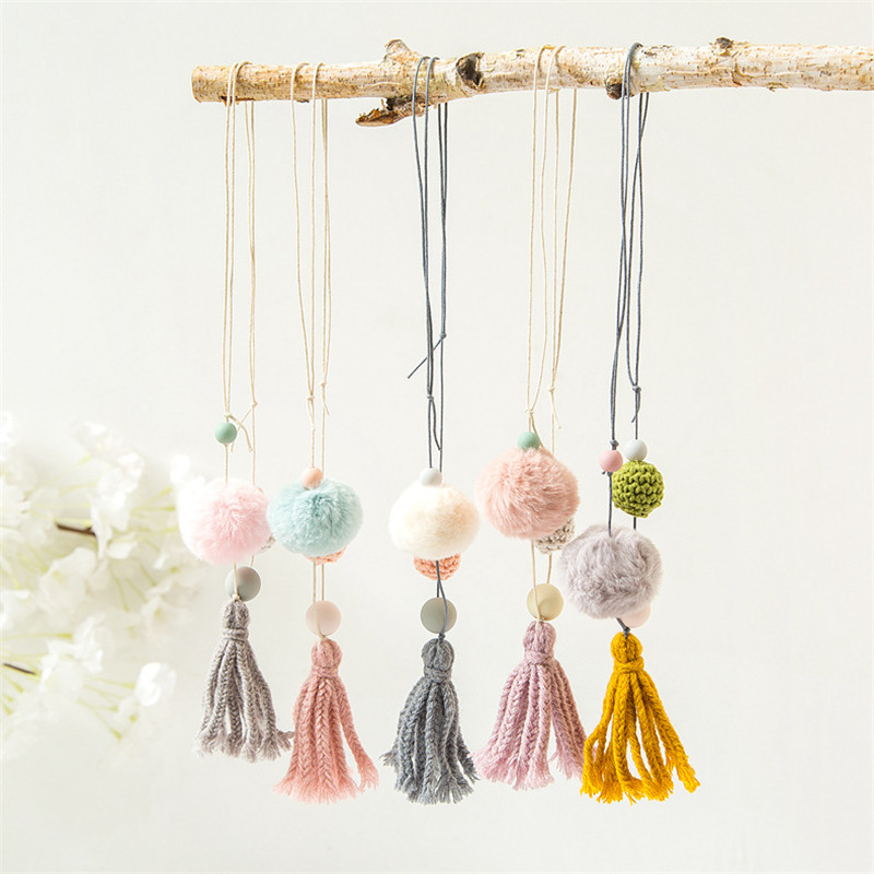 Korea Cute Handmade Woolen Thread Tassel Hairball Children Girl Kids Necklace & Pendant Fashion Jewelry Accessories-JHCGNL001D