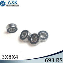 693RS Bearing ABEC-3 ( 10 PCS ) 3*8*4 mm ABEC-3 Hobby Electric RC Car Truck 693 RS 2RS Ball Bearings 693-2RS Black Sealed(China)