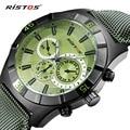 RISTOS Sport Men Watch Top Brand Luxury Genuine Leather Quartz Watches Male Military Calendar Waterproof Wristwatch Relojes 2016