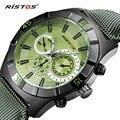 RISTOS Sport Reloj de Los Hombres de Primeras Marcas de Lujo Relojes de Cuarzo de Cuero Genuino Masculino Militar Calendario Impermeable Reloj de Pulsera Relojes 2016