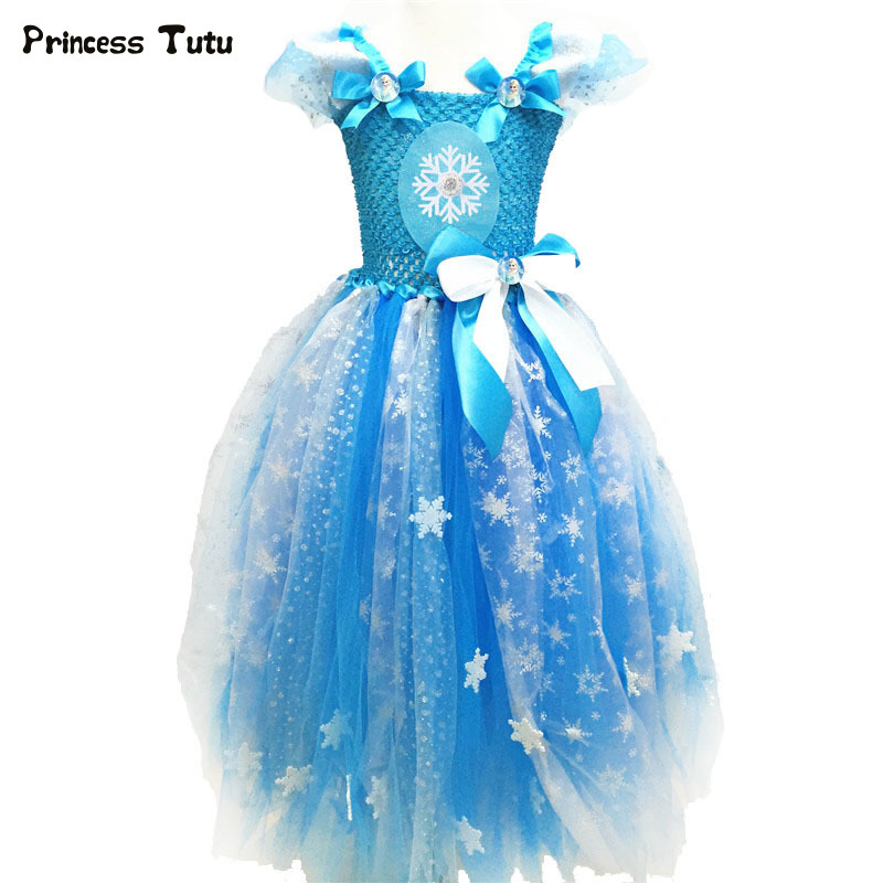 Girls Elsa Tutu Dress Cosplay Costume Halloween Christmas Kids Princess Dress Tulle Girls Birthday Party Ball Gowns For Children baby girls christmas halloween costume witch vampire cosplay tutu dress kids princess tulle dress girl festival birthday dress