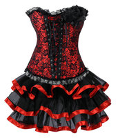 Red Black White Burlesque Club Wear Corset Dress,Appliques Flowers Sexy Lace Brocade Bustier Top With Tutu Skirt,S M L XL XXL