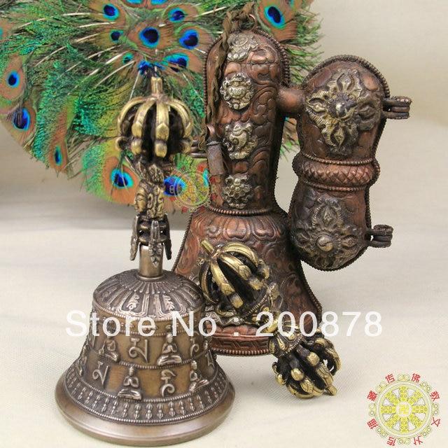 TBC960 Тибетский латунный Состаренный Золотой Большой Vajra колокольчик и Dorje набор, буддийские вещи, бесплатная доставка