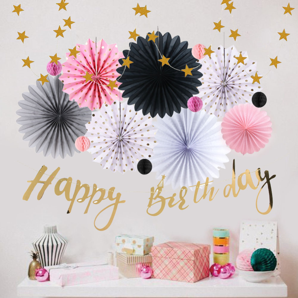 Birthday Girl Decoration Set 15pcs With Happy Birthday Banner Paper Garlands For Kids Adult Birthday Party Decoration Supplies in Party DIY Decorations from Home Garden