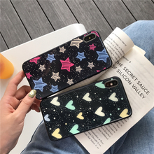 Gradient Glass Cases For iPhone 6 6S 7 8 Plus Tempered for X XS Max XR Colorful Silicone Bumper Cover