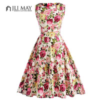 JLI MAY Summer Floral Retro Dress Vintage Elegant Party Print Belted Pinup O Neck Midi Sleeveless
