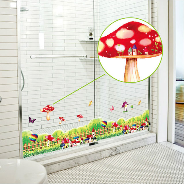 Fundecor] cartoon mushroom flowers fence wall sticker diy kids room ...