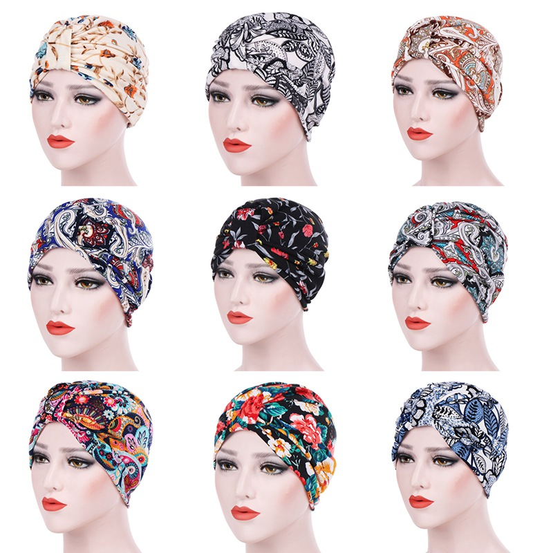 Women Elastic Turban Hat Muslim Printed Turban Chemo Cap Head Wrap Cotton Caps Ladies Stretch Head Wrap Head Scarf New