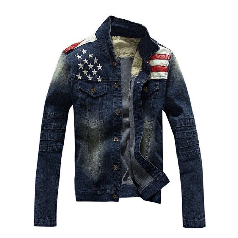 2016 Nuovo Usa Mens Di Disegno Dei Jeans Giacche Esercito Americano Stile Jeans Uomo Abbigliamento Giacca Di Jeans Per Gli Uomini Più Il Formato Asia Fresco In Estate E Caldo In Inverno
