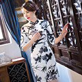 The New Autumn Cheongsam Retro Fashion Dress Middle Sleeve Daily Dress Ink Printing Cheongsam