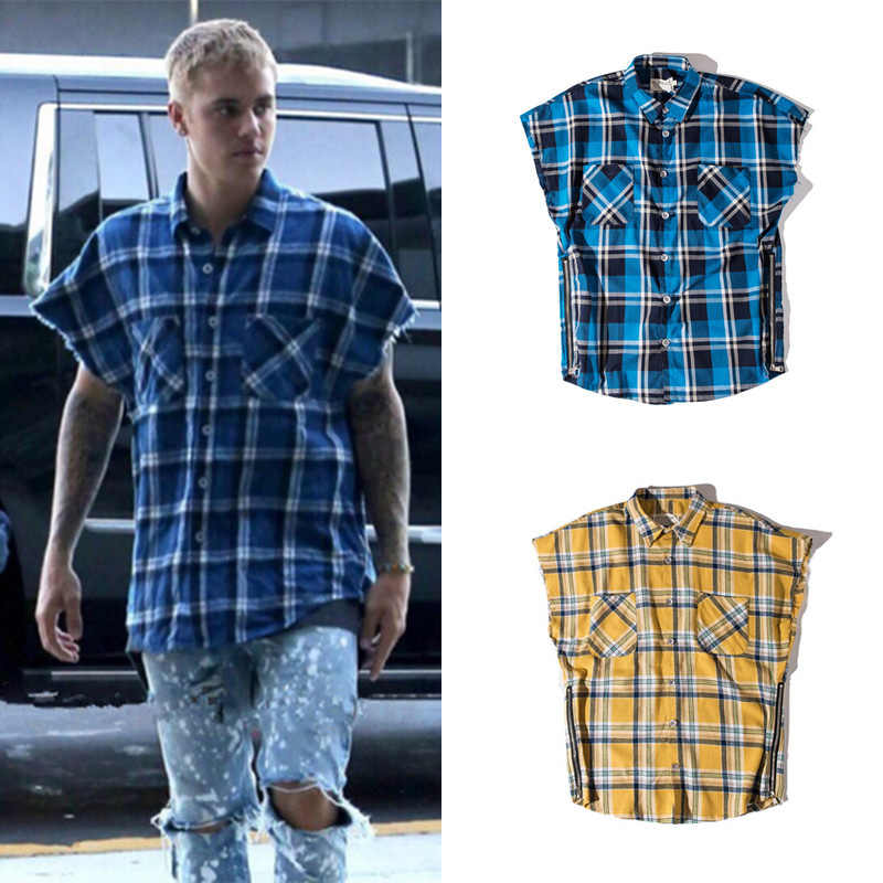 Streetwear Hiphop Oversize Flanel Plaid Mouwloos Shirt mannen Justin Biber Jeugd Hiphop Losse Retro Side Rits Split Shirts