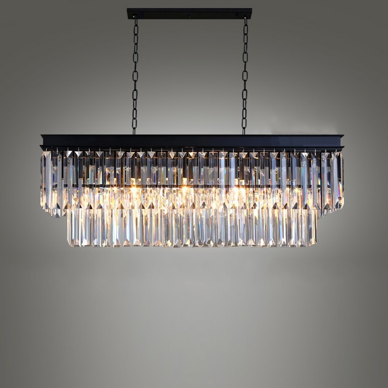 American Country Crystal Chandelier Lamp Retro Luxury Metal Suspension Lighting For Bar Kitchen Dinning Room Lights Fixture P506